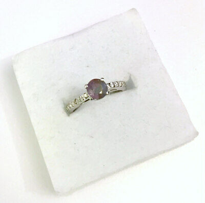 0.98ct Pink Tourmaline & White Topaz Ring in 925 Sterling Silver - UK Size K