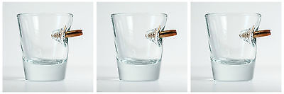 BenShot Bulletproof Shot Glass SET OF 3 GLASSES w/ Real Bullet Groomsmen Gift