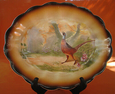 Vtg 1900's Antique Sterling China Picture Platter plate Pheasant in the woods