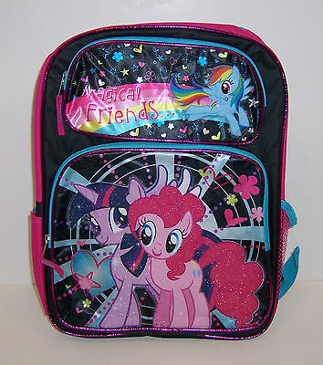 """MY LITTLE PONY Large 16"""" BACKPACK Magical Friends Pinkie Pie Rainbow Dash NEW!"""
