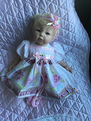 Reborn Doll Dress Set.  Pale Pink / Organza Front Panel.19-21""