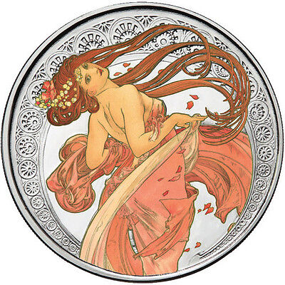 Alphonse Mucha Collection - DANCE 1 oz .999 Silver Colorized Proof Round US Coin