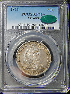 1873 50C Seated Liberty Half Dollar Arrows XF-45+ PCGS/CAC Population 1!