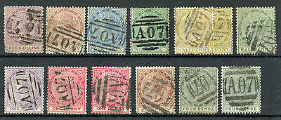 Dominica 3//22 Used 1874-89 QV British Colonial issues, 'A07' numeral CV $251+