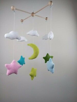colorful star moon and cloud baby mobile Nursery decoration