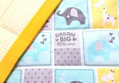 "NEW, HANDMADE, ""DREAM BIG"", 35x43in, BOYS, FLANNEL BABY/TODDLER QUILTED BLANKET"