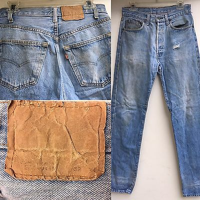 VTG Levi's Button Fly Jeans 501-0115 32 (measures 30) X 34 Naturally Destroyed
