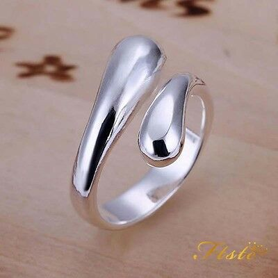 Thumb Ring Teardrop 925 Sterling Silver Adjustable Ladies Finger Band Plated