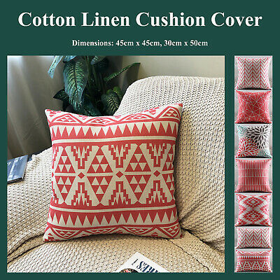 Red Geometric Floral Natural Linen Print Cushion Cover Pillow Case Home Decor