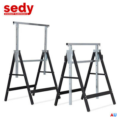 2-Piece Telescopic Trestle Saw Horse Foldable Steel Work Stand Workbench Support