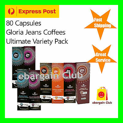 80 Capsules Gloria Jeans Ultimate Variety Pack Capusules Pod Caffitaly System