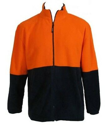 Hi Vis Safety Workwear Warm Fleece Jumper Jacket Full Zip Tradie Fluoro Orange