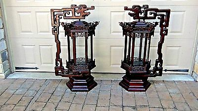 PAIR ANTIQUE 19c CHINESE ROSEWOOD PALACE DRAGONS LANTERNS FULL FRAME 6 PANELS