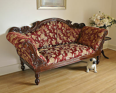 Antique Style Carved Mahogany Settee / Daybed / Sofa / Couch / Chaise Lounge # 1