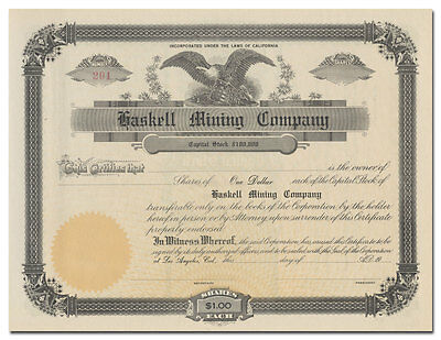 Haskell Mining Company Stock Certificate (California)