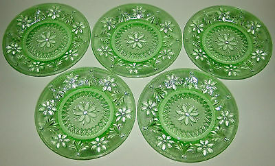 "New England Glass Vaseline Green 8.25"" Lacy Plates (Set of 5)"