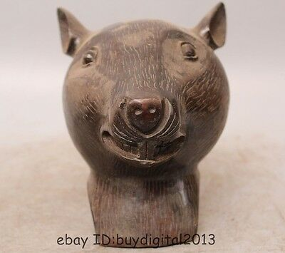 Chinese Bronze Folk Animals FengShui Year Zodiac Argute Wealth Mouse Head Statue