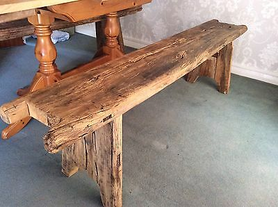 Unique Pair Of Antique Victorian 7ft  Solid Rustic Benches