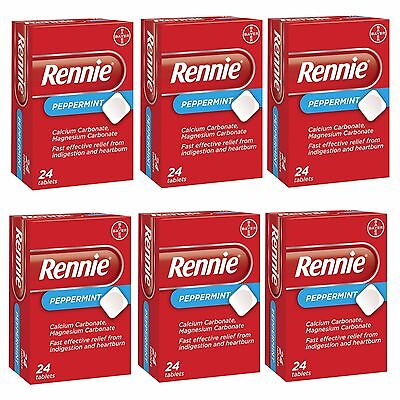Rennie Peppermint Indigestion & Heartburn Relief Antacid 24,48,72 or 144 Tablets