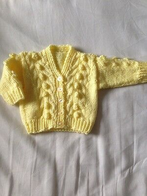 Hand Knitted Baby Cardigan, 0-3 Months