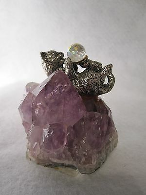 METAL  CAT ~ KITTY  FIGURINE  with  GAZING  BALL ON  AMETHYST  BASE