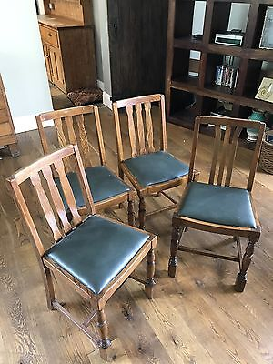 Matching Set 4 Oak Ladder Back Chairs Circa 1930's