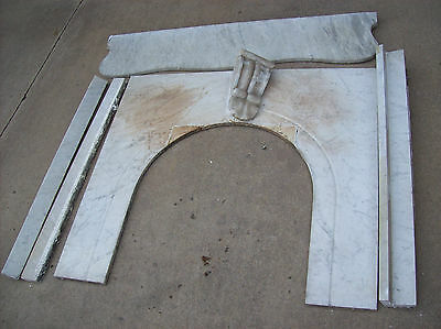 Nice marble Fire Place Mantle w/ key stone & fire front