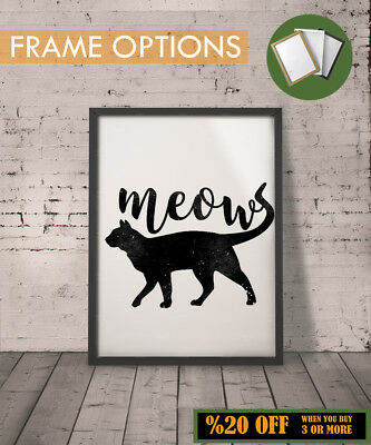 BLACK CAT Wall Art Print Meow Poster Minimalist Vintage Home Decor Gift A3/A4