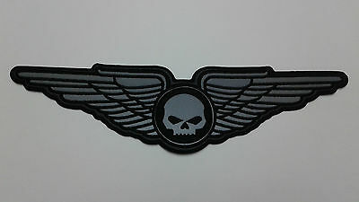 "1 pc  REFLECTIVE SKULL WING BIKER EMB.PATCH, L.13-7/8"" SEW-ON"