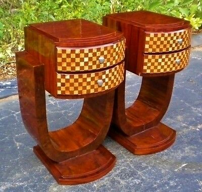 Wonderful Pair Art deco side tables commodes