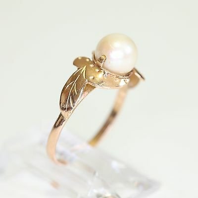 RARE ANTIQUE SOLID 18K GOLD & MOVING PEARL RING, 1.9 grams, size 5.5