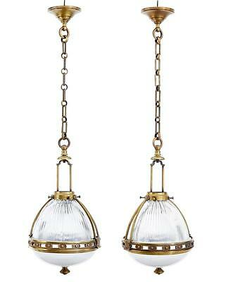 PAIR OF 1930's FRENCH BRASS AND GLASS PENDANT LIGHTS
