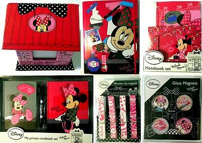 Disney Minnie Mouse Accessories Note Pads Pen Magnets Clip Stationery School