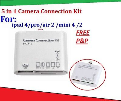 USB 5 IN 1 CAMERA CONNECTION KIT TFMMC SD CARD READER FOR IPAD/4/MINI/Air Retina