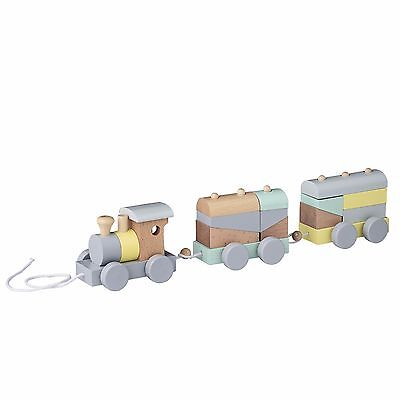 Stacking Pull Along Wooden Toy TRAIN Multicolor Blocks Shapes KIDS Children Baby