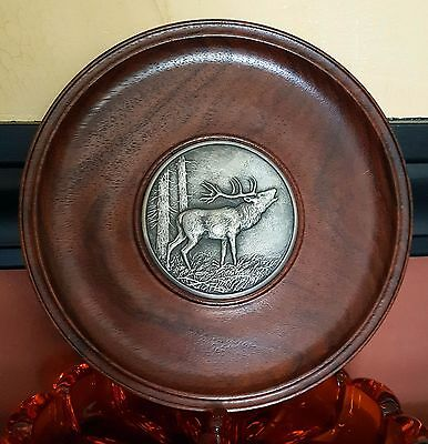 RARE Vintage Embossed PEWTER PLATE / Picture in SOLID OAK - Germany **Signed**