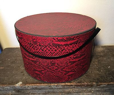 "Vintage 1950s Wallpaper Hat Box Red Snake Skin Print 13"" Diameter 8"" Tall"