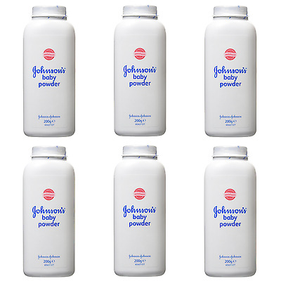 1,2,3 or 6 Bottles Johnsons Baby Powder 200g Talc Talcum Powder