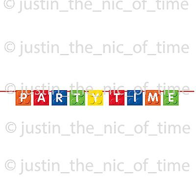 Building Blocks Boys Girls Party Decorations Block Hanging Banner PARTY TIME