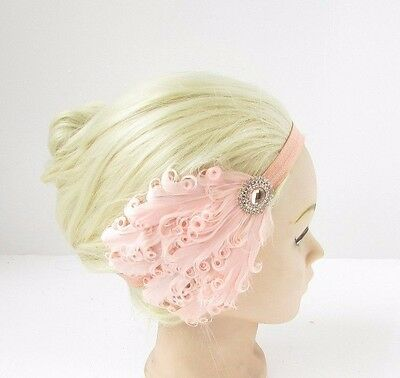 Blush Pink Peach Rose Gold Girls Baby Feather Headband Bridesmaid Hair Band 2620