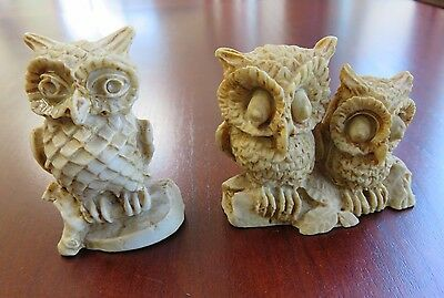 """2 Brown Owl Soapstone Figurines Carved - Made in Mexico 2"""" Tall"""