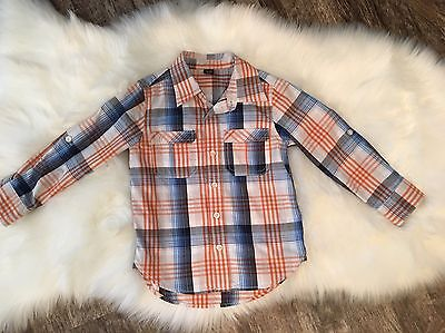 Baby Gap boys button down Convertible Plaid Shirt Long And Short Sleeve Size 4T