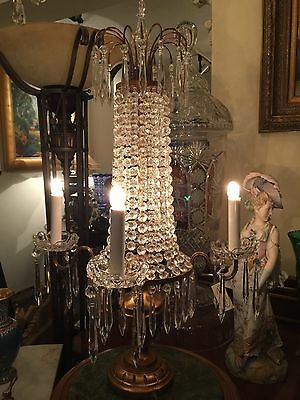 Pair Of 4 Light Crystal Candelabra From Italy