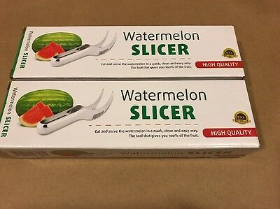 Lot Of Two Watermelon SLICER Cutter Server Corer Scoop Stainless Steel Tool