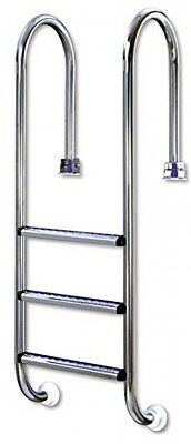 Interline 55800020 Small 3 Steps Single Sided Timber Pool Stainless Steel Ladder