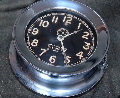WWII  US NAVY Chelsea Deck clock / Ships Clock serial 303701 - July 1942