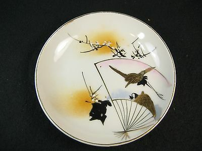 Antique Japanese Taisho Era Hand Painted Sauce Dish Plum Crane Fan