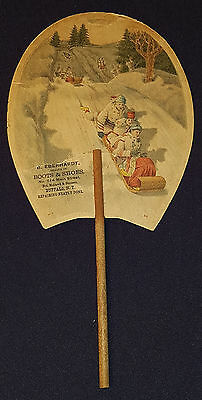 1880/90's - COLORFUL - TOBOGGAN SCENE - BOOTS & SHOES - ADVERTISING - HAND FAN