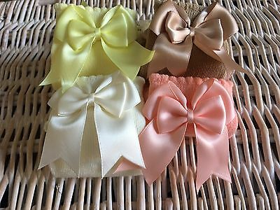 Baby & Girls 3/4 Knee Satin Double Bow Spanish & Romary Socks **FREE DELIVERY**