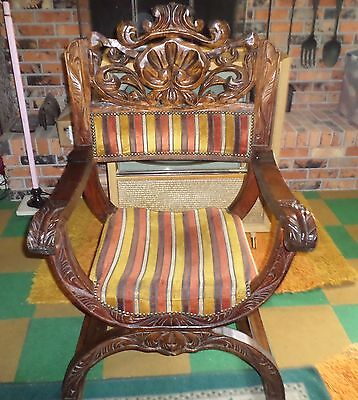 Antique Ornate Carved Mahogany Throne Chair